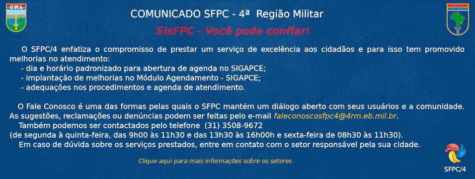 Comunicado SFPC - 4ª Região Militar